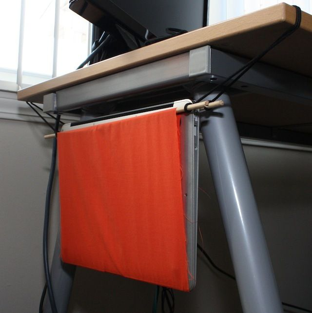 DIY Laptop Hammock - maybe a solution to our laptop taking up so much room on the coffee table... hang it off the end!