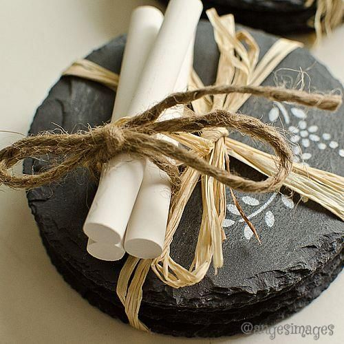 stencilled slate coasters, chalkboard paint, crafts, Package with a bit of chalk tied with twine for a chalkboard look