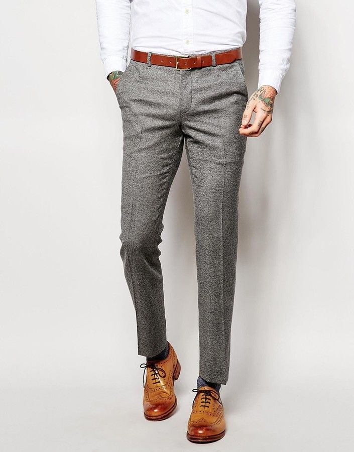 HEART & DAGGER Heart & Dagger Wool Tweed Pants in Slim Fit