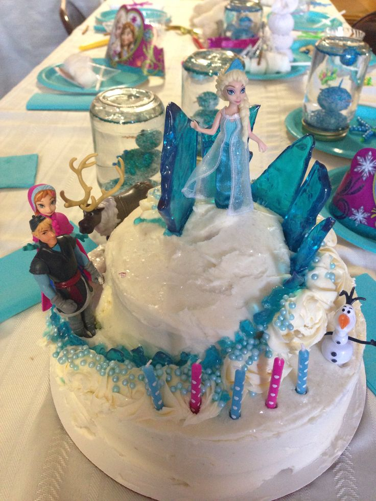 Frozen cake. Queen Elsa's mountain. Ice castle. Easy.