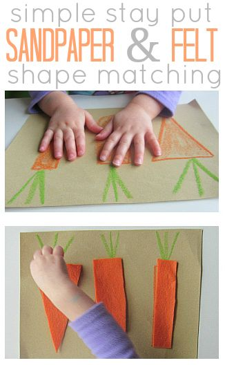 Easiest ever shape matching activity with a sensory element to it too. { Great intro to Math }