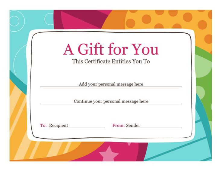 Birthday Gift Certificate Template Word 2010                                                                                                                                                     More