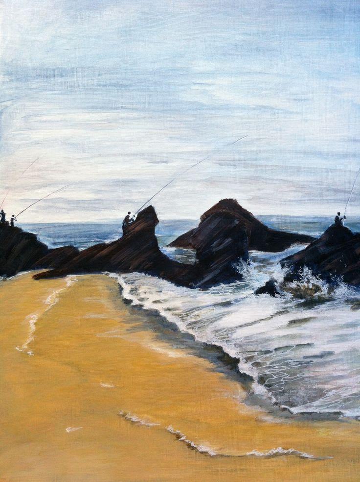 peinture falaises plage paysage marine plage du portugal acrylique originale plage rochers. Black Bedroom Furniture Sets. Home Design Ideas