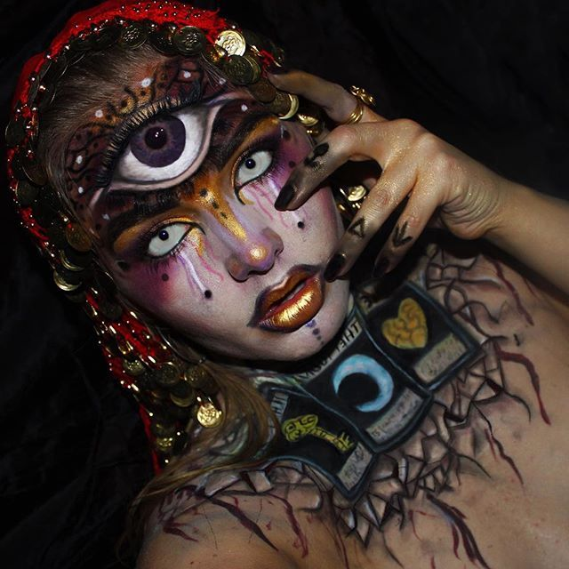 Fortune teller  My entry for the #ALxHALLOWEEN competition  #halloween #halloweenmakeup #fortuneteller #eye #fantasy #fantasymakeup #moon #facepaint #art #bodypaint #mua #makeup #makeupartist #dupemag  #muashootingstar