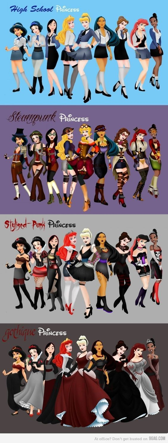 HS, Steampunk, Punk & Goth Disney Princesses. Funny how just changing the color of the dress can change so much more..:
