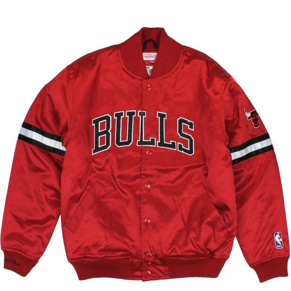 Chicago Bulls Team Colors The Backup Satin Jacket ($180) ❤ liked on Polyvore featuring outerwear, jackets, tops, shirts, red satin jacket, red jacket and satin jacket