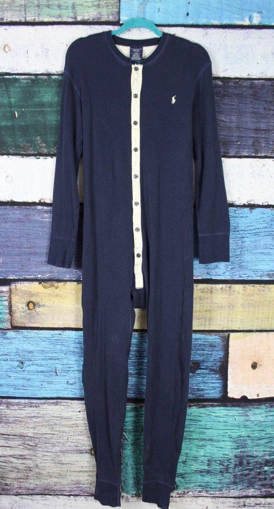 bae16dde5720 Details about Ralph Lauren Large Blue Thermal Waffle Knit Union Suit ...