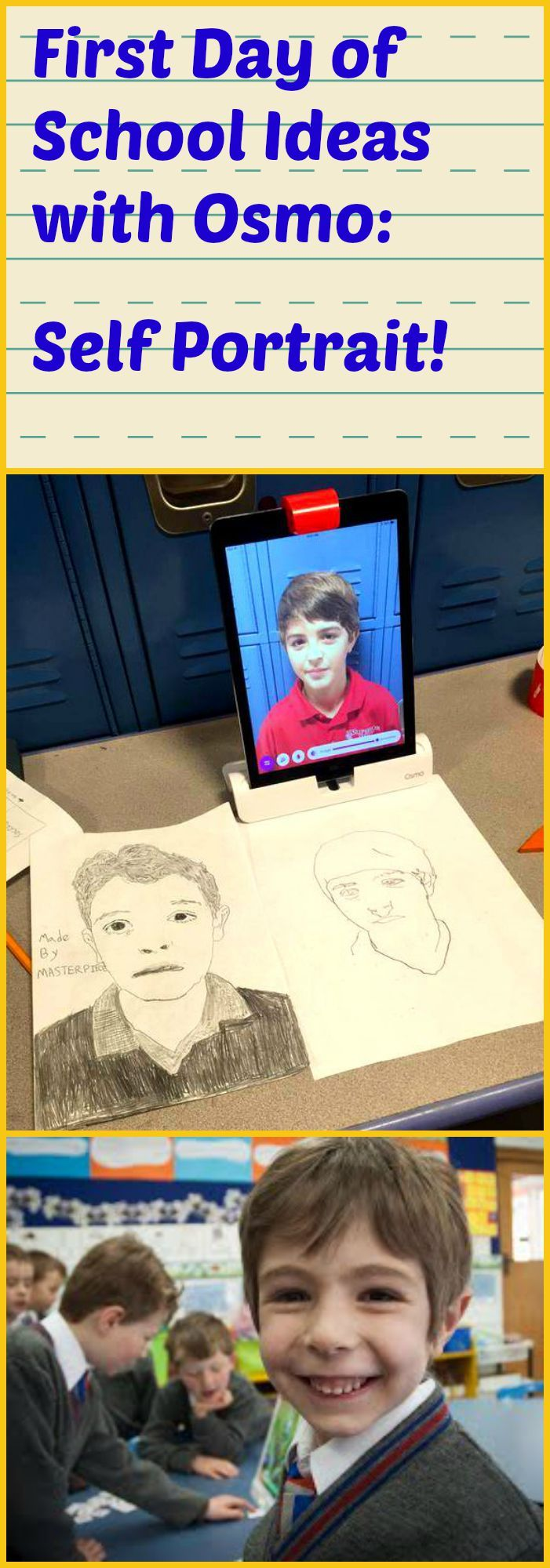 Here is a great first day of school idea using Osmo!    In this workshop, students get to experience taking a self-photo and sketch out their own self portrait. 1. Students will start by taking a selfie with the iPad. 2. Teacher demonstrates choosing an image to draw from the camera roll and changing the visible lines.  3. Students begin tracing their photo and drawing a self portrait. For more ideas on how to revolutionize your classroom with Osmo, visit…