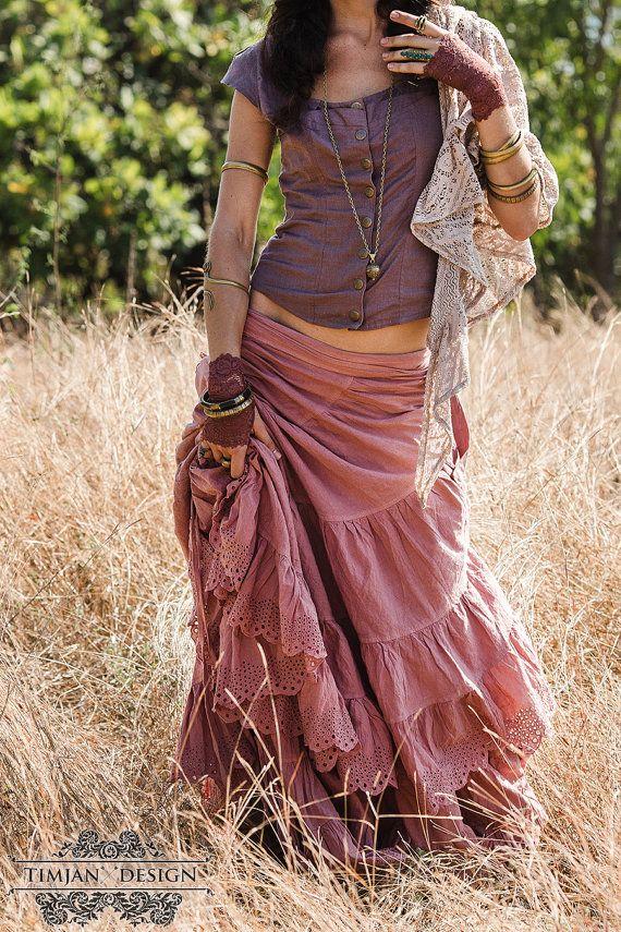 CHERISE LINEN SKIRT - Steampunk Bohemian Burning man Hippie Boho Belly Dance Faery Fairy Shabby Wedding Bride Plus size - Pink Mauve Rose