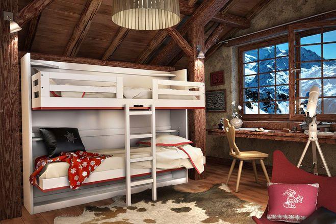 Как производится планировка детской комнаты с двухятрусной кроватью?