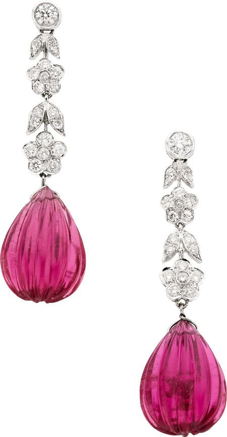 Tourmaline, Diamond, Whit Gold Earrings  The earrings feature carved rubellite tourmaline briolette weighing a total of 16.62 carats, enhanced by full-cut diamonds weighing a total of approximately 0.70 carat, set in 18k white gold, completed by posts with friction backs