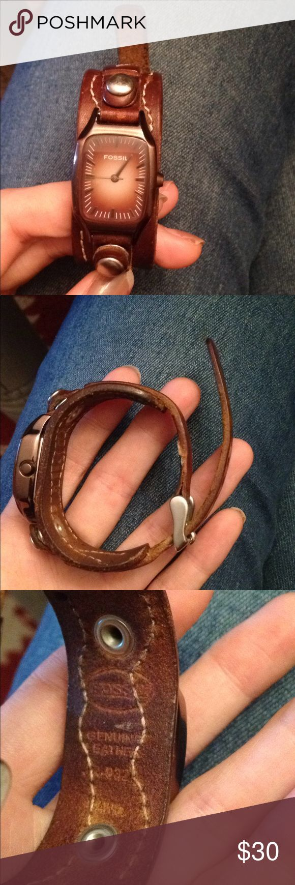 Brown leather fossil watch. Brown leather fossil watch. Just had the battery replaced today. The only issue is the strap is missing the thin leather strap that holds the long strap down. Fossil Accessories Watches