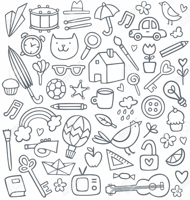 Set Of 50 Doodles Royalty Free Cliparts, Vectors, And