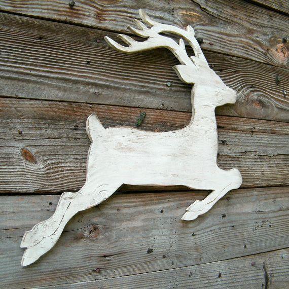 Reindeer White Christmas Wood Winter Holiday Deer Reindeer