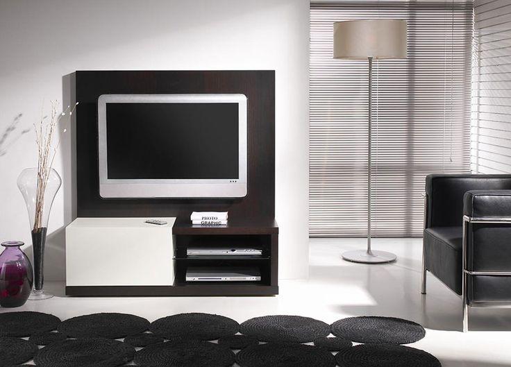 Meuble TV wengé et blanc laqué contemporain ANGIE