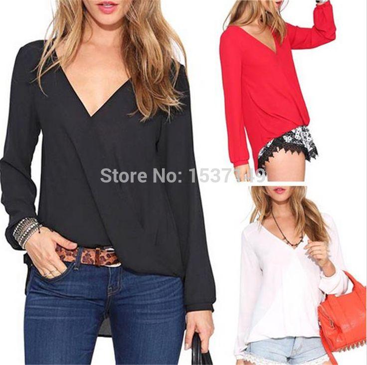 2017 אביב הקיץ חם נשים חולצת שיפון Blusa Feminina חולצות צמרות של נשים גבוהה אופנה בתוספת גודל אדום שחור לבן איכות