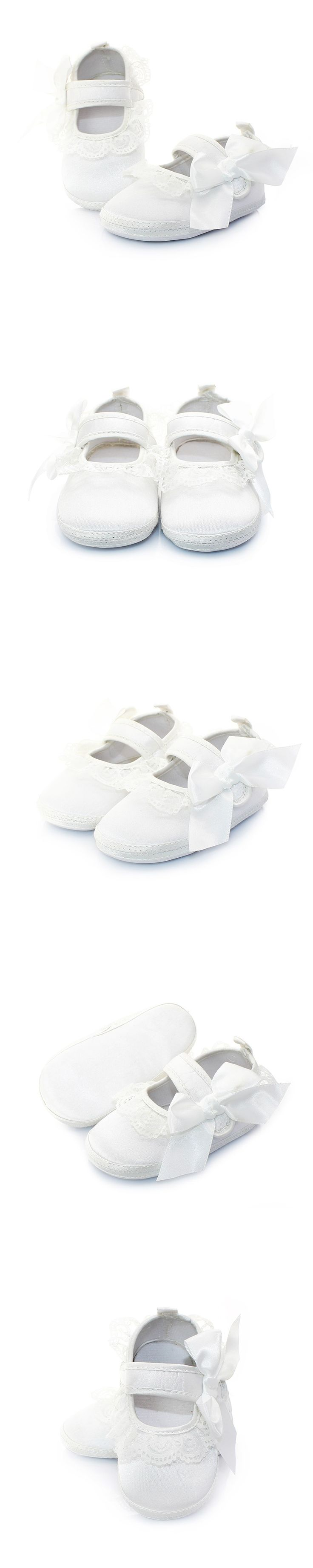 Side Stick Bowknot Baptism Cotton White Baby Shoes For 0-2 Years Old Handmade High Quality Cotton Shallow Baby Shoes Wholesale
