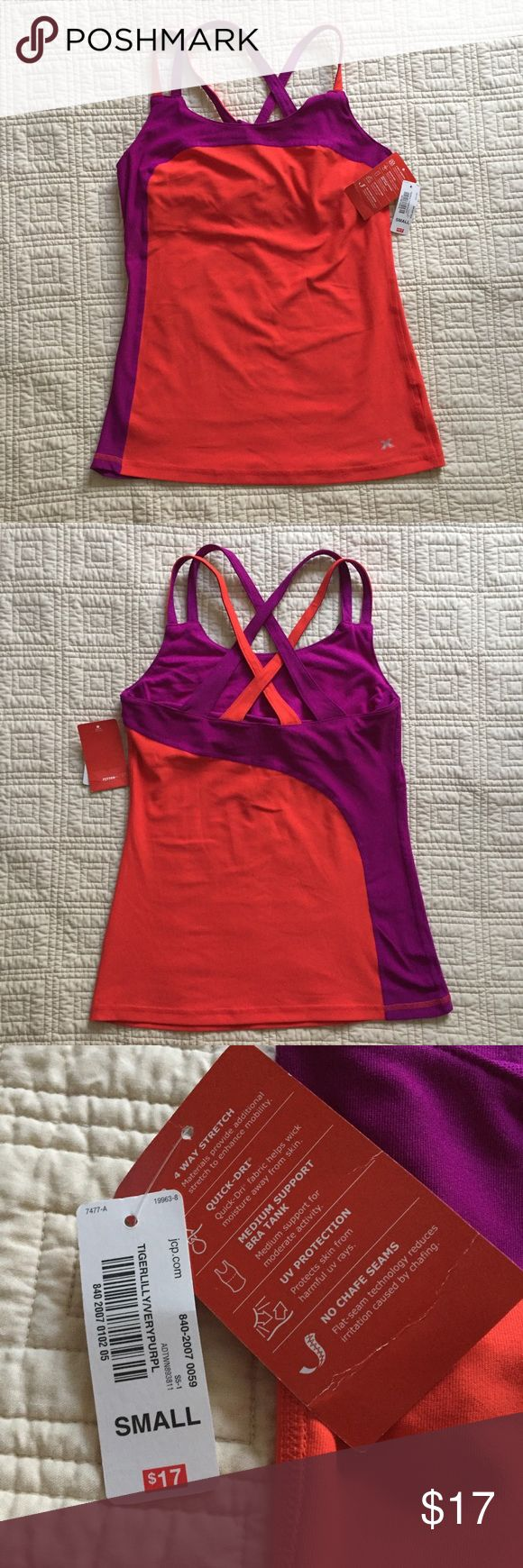 Women's Athletic/Workout Top Women's Athletic/Workout Top | Orange and Purple strappy workout top for women. Unlined built-in bra. Brand new with tags. Perfect for any workout! Tops Tank Tops