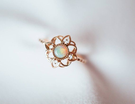 14K 18K Gold Fire Opal Flower Ring Art Deco Diamond Engagement | Etsy