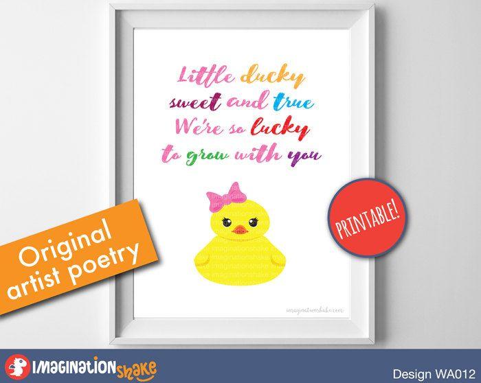 Original Nursery Poem Rubber Ducky Wall Art PRINTABLE / Ducky Baby Nursery Art / Nursery Poem Prints / Printable Nursery Art / 5x7 / 8x10 - pinned by pin4etsy.com