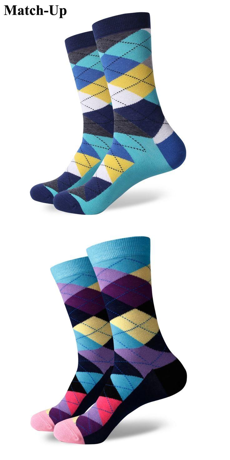 Match-Up ARGYLE SOCK men's combed cotton socks brand man dress knit socks Wedding Gifts Free shipping US size(7.5-12)