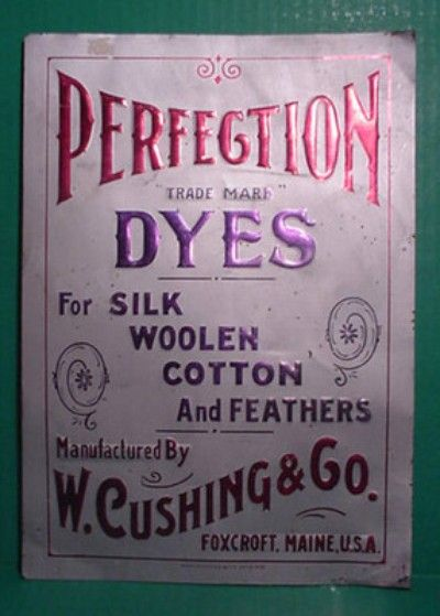An original, Early 1900's era, ~ PERFECTION DYES TIN ADVERTISING SIGN FOR A COUNTRY STORE DYE CABINET. ~ This sign was discovered in a local area estate where it has been tucked away for a long time. Measures 13 3/4 inches tall by 9 3/4 inches wide. It is in pretty decent condition with some expected wear from age and use! The new owner is to pay 12.00 for secured FEDERAL EXPRESS Insured shipping with confirmation tracking in the lower 48 United States. NO RESERVE!