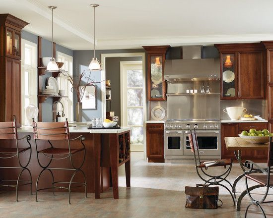 Dark Cherry Kitchen Cabinets Wall Color. Kitchen Wall Colors With Cherry  Cabinets Design Ideas,