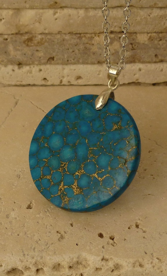 Pressed Turquoise Pendant Turquoise and Gold by ShawlsandtheCity, $24.00