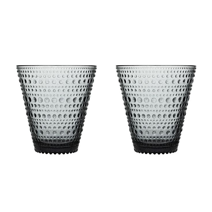 Kastehelmi Drinking Glass 30cl 2-pcs, Grey, Iittala