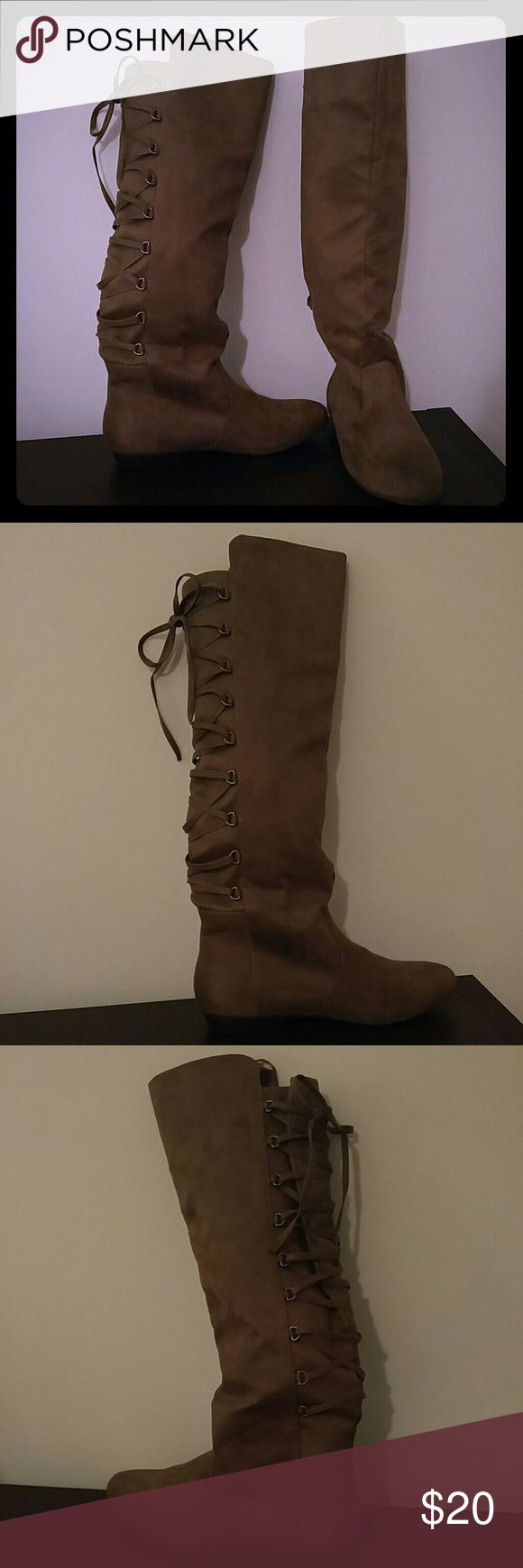 Brown Suede Laced Up Boots, Size 8 Brown Suede Lace Up Flat Boots, Size 8 Shoes Lace Up Boots