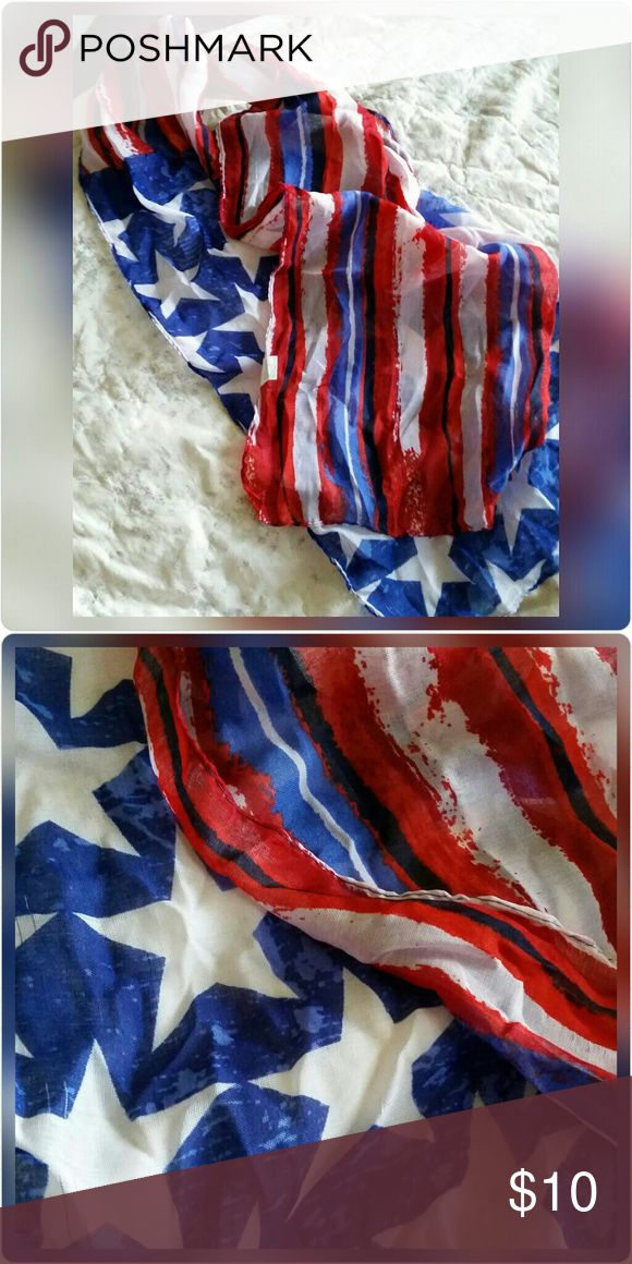 """Americana Flag Print Scarf Beautiful, lightweight scarf. American flag print. Perfect for the 4th of July!   63""""x13.8"""" in size 100% polyester Hand wash Do not iron Line dry Accessories Scarves & Wraps"""