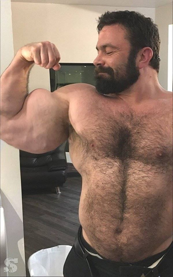 Hairy chest gay muscle bear
