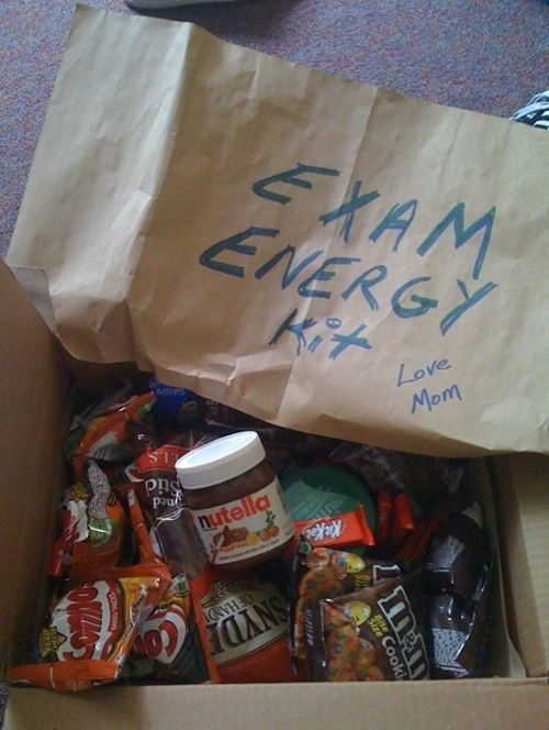 I loved when my mom would send me care packages during finals in college.