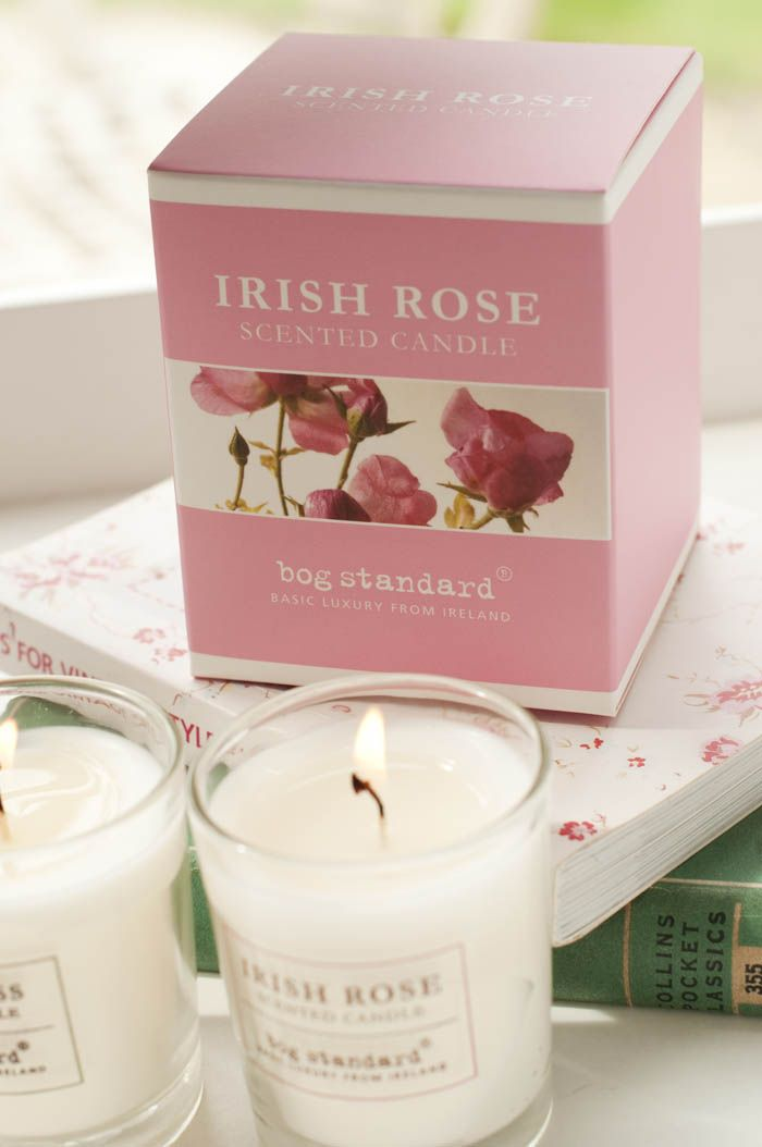Irish Rose Scented Candle from Bog Standard. Romantic and feminine, evocative of a classic old fashioned rose. Perfect gift for her.