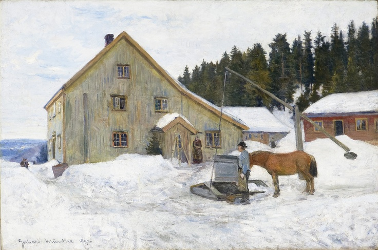 Gerhard Munthe (Norway, 1849-1929): Gårdstun, vinter (1894)