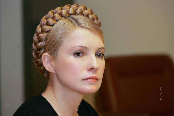 Yulia Tymoshenko, the Prime Minster of Ukraine. Crown of braids / peasant look.