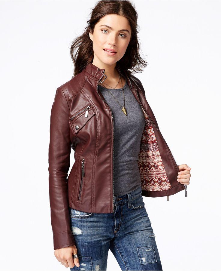 Jou Faux Leather Women S Moto Jacket Cairoamani Com