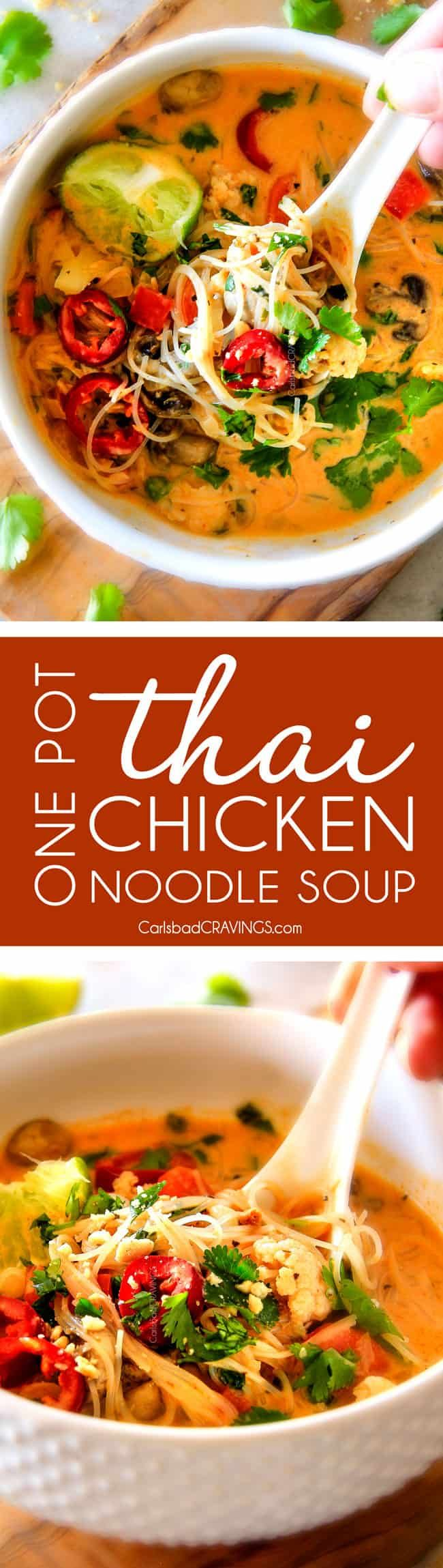 ONE POT Thai Chicken Noodle Soup - this is one of my favorite soups I have ever tasted let alone made! Its way better than takeout with layers of warm, comforting aromatic flavors and I love all the veggies! I had never cooked with rice noodles and the texture was outstanding, even in leftovers! via @carlsbadcraving