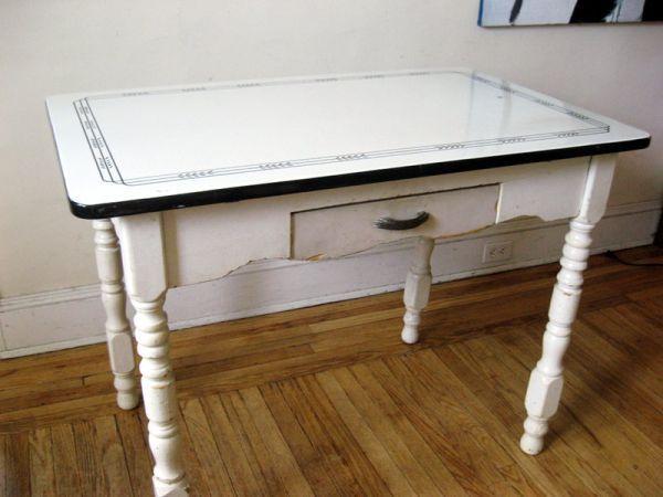 Vintage Red White Porcelain Enamel Top Kitchen Table