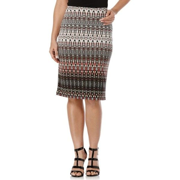 Rafaella Deep Sepia Tribal Gradient Skirt - Women's (£22) ❤ liked on Polyvore featuring skirts, deep sepia, white knee length skirt, white knee length pencil skirt, rafaella skirt, rafaella and tribal skirt