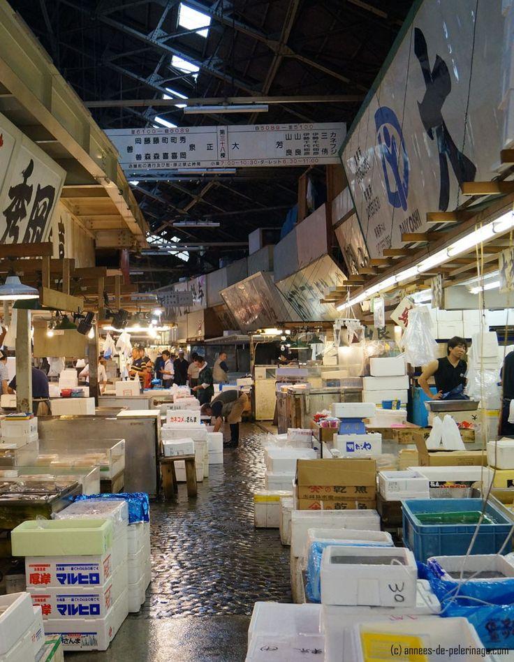 styroform boxes at tsukiji fish market in tokyo