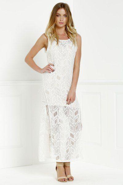 Hollow Back Openwork Lace Hook Slit Dress WHITE: Club Dresses   ZAFUL
