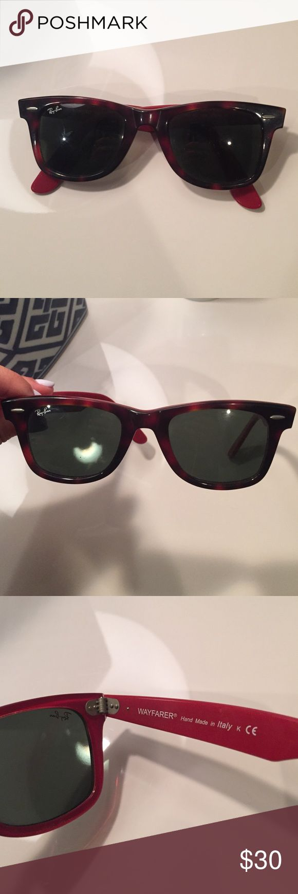 Ray ban wayfarer sunglassss Ray ban wayfarer sunglasses. Tortious hell outside with a red inside. In great condition. Ray-Ban Accessories Sunglasses