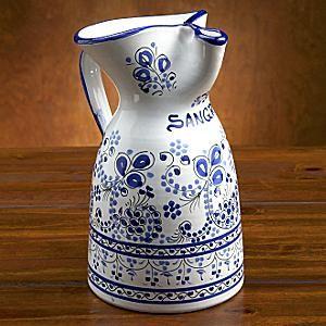 LaTienda.com - Ceramic Sangria Pitcher from Spain - Hand-painted Blue Flor Design