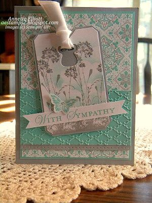 Sympathy card - Serene Silhouettes, Loving Thoughts and Papillon Potpourri stamp sets, Eastern Elegance DSP,  Chalk Talk framelits (tag), Silver Dazzling Details, White Embossing Powder, Fancy Fan TIEF, Bitty Butterfly Punch.