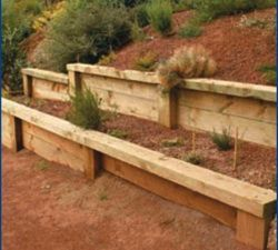 how to build a wood post retaining wall