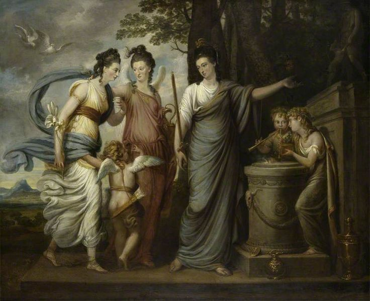 BBC - Your Paintings - Allegorical Scene with Juliana, Countess of Carrick (1727/8–1804), as Wisdom Directing Her Younger Daughters, Lady Henrietta Butler (1750–1785), Later Viscountess Mountgarret, and Lady Margaret Butler/Lowry-Corry (1748–1775), as Beauty and Virtue, to the