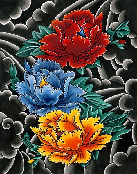 Japanese tattoo style Peonies Art Print by SebastianOrth
