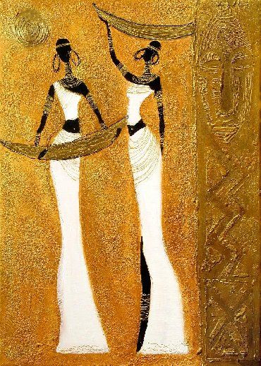 oil painting 'Golden African Women'
