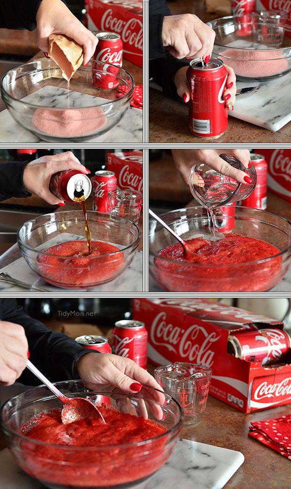 Cherry Vanilla Coca Cola Poke Cake - mix cherry jello with Coke.  full recipe at TidyMom.net